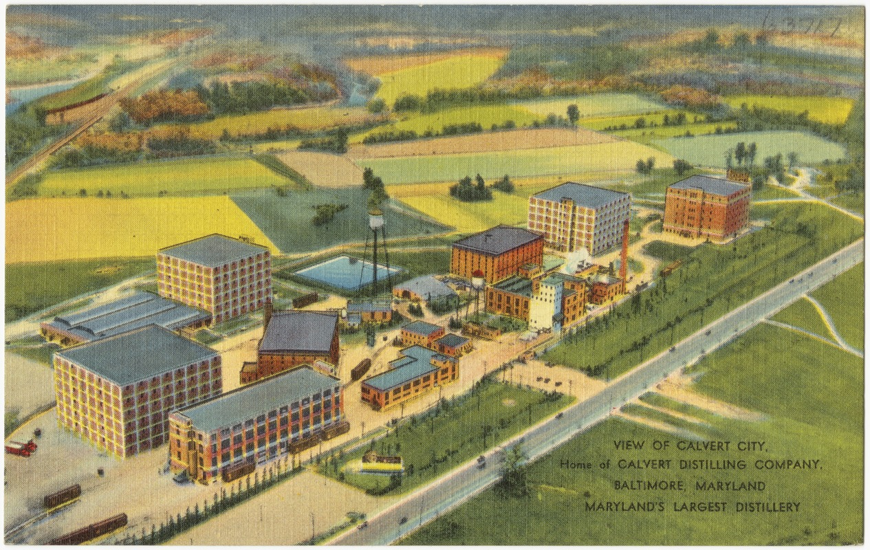View of Calvert City, home of Calvert Distilling Company, Baltimore, Maryland, Maryland's largest distillery