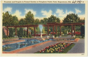 Fountain and pergola in formal garden at Pangborn Public Park, Hagerstown, Md.