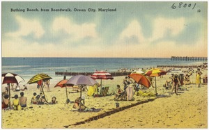 Bathing Beach, from boardwalk, Ocean City, Maryland