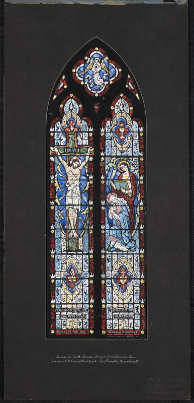 Design for south window second from chancel in nave, Immaculate Conception Church, Easthampton, Massachusetts