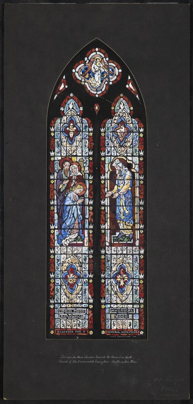 Design for nave window nearest the chancel on north, Church of the Immaculate Conception, Easthampton, Mass.