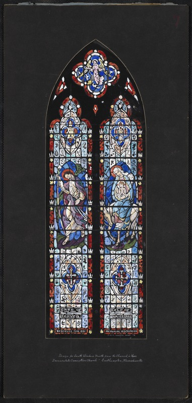 Design for south window fourth from chancel in nave, Immaculate Conception Church, Easthampton, Massachusetts