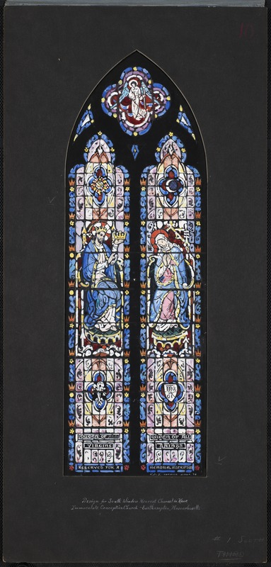 Design for south window nearest chancel in nave, Immaculate Conception Church, Easthampton, Massachusetts