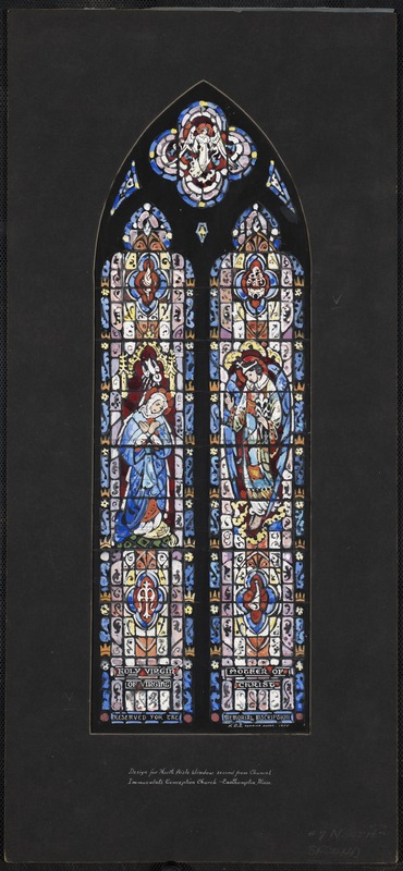 Design for north aisle window second from chancel, Immaculate Conception Church, Easthampton, Mass.