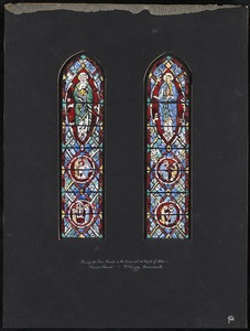 Design for two panels in the transept at right of altar, Christ Church, Fitchburg, Massachusetts