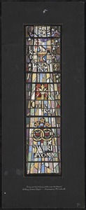 Understanding, counsel, matrimony. Design for east window fifth from chancel, Bethany Convent Chapel, Framingham, Massachusetts