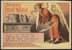 Agate iron ware. It is a perfect article just as the makers say, and as I can't destroy it, my advice is, buy to day.
