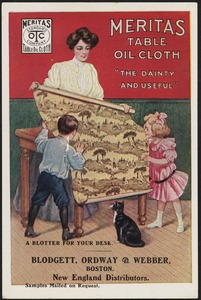"""Meritas table oil cloth, """"the dainty and useful"""", a blotter for your desk."""