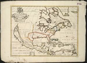 A new map of North America shewing its principal divisions, chief cities, townes, rivers, mountains &c