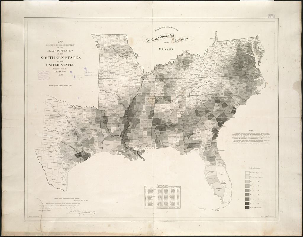 Map Showing The Distribution Of The Slave Population Of The - Map of southern us