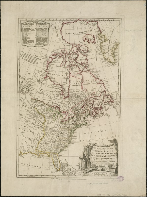 A new map of the United States of North America with the British dominions on that continent &c