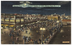 General view boardwalk from casino, at night, Asbury Park, N. J.