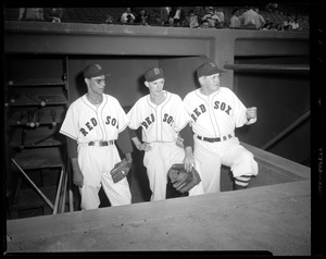 Red Sox manager Joe McCarthy with pitchers Mickey McDermott and Walt Masterson