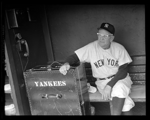 Yankees manager Casey Stengel in Fenway dugout