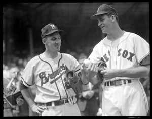 Warren Spahn of the Milwaukee Braves with Don Schwall of the Red Sox, All-Star Game at Fenway