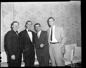 Johnny Pesky and Warren Spahn with others at event