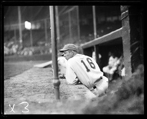 Player in dugout at Braves Field