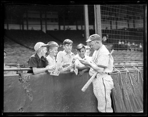 Chicago Cubs player signs autographs for kiddies at Braves Field