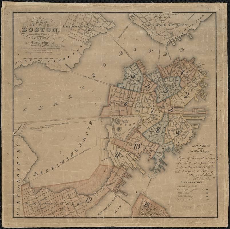 Plan of Boston comprising a part of Charlestown and Cambridge