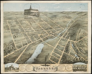 Bird's eye view of Waukesha, Waukesha County, Wisconsin 1874