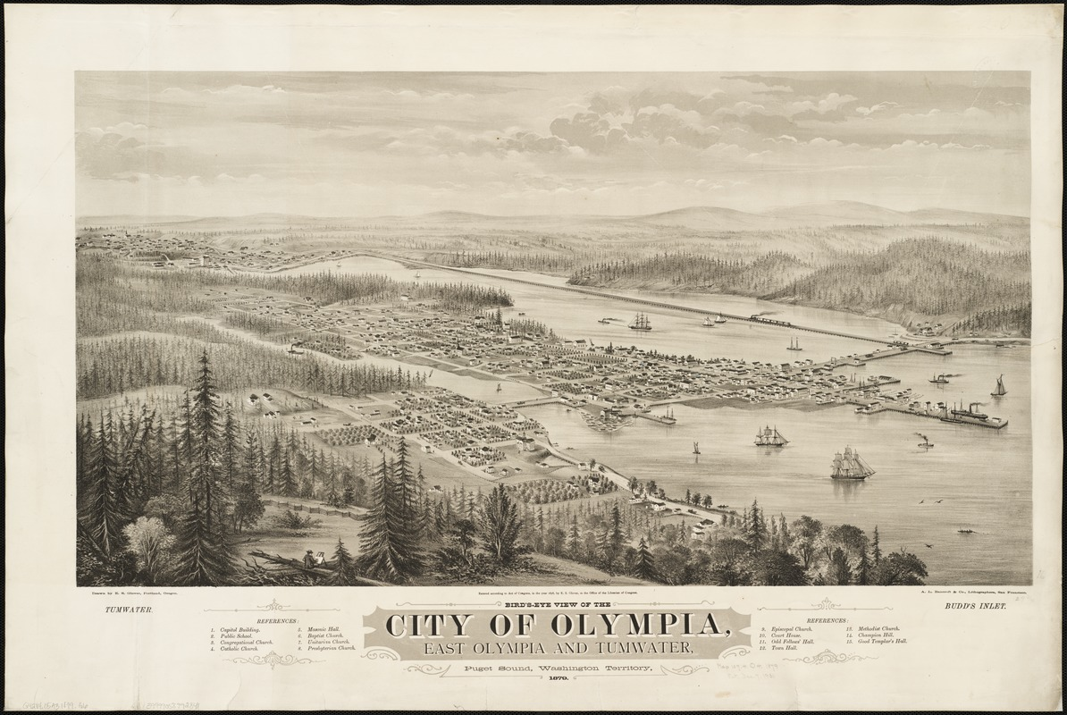 Bird's eye view of the city of Olympia, East Olympia and Tumwater, Puget Sound, Washington Territory, 1879