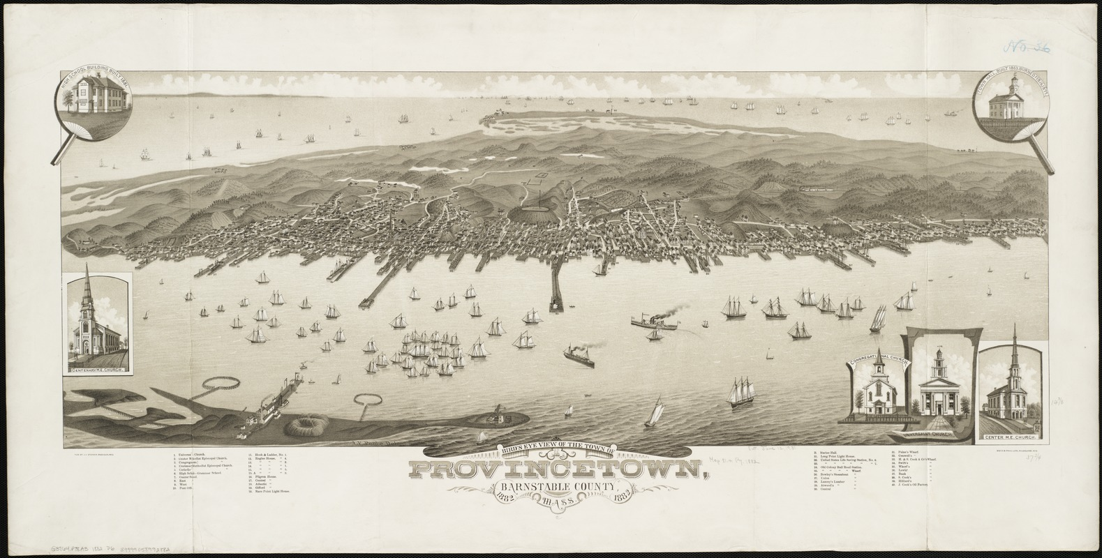 Bird's eye view of the town of Provincetown, Barnstable County, Mass