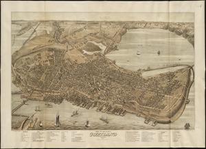 Bird's eye view of the city of Portland, Maine, 1876