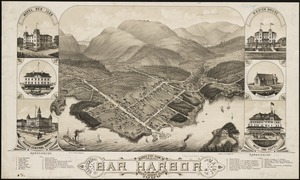 Bird's eye view of Bar Harbor, Mount Desert Island, Hancock Co., Maine, 1886