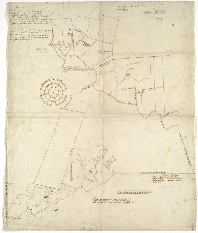 [An unfinished tracing of Joshua Fisher's copy on parchment of Oliver's paper plat of land in Dorchester, made in 1661]