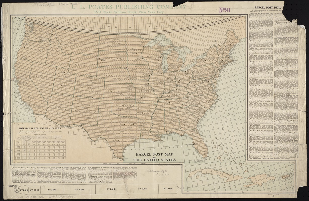 Parcel post map of the United States