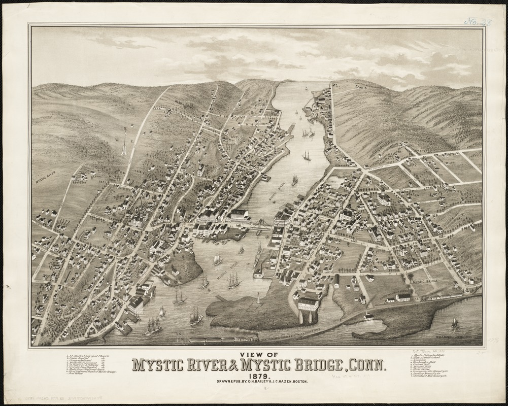View of Mystic River & Mystic Bridge, Conn. 1879