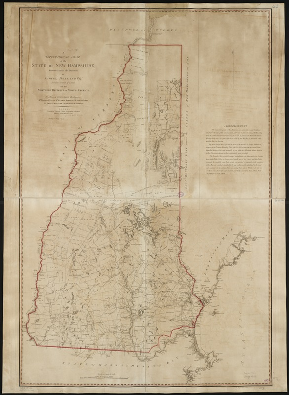 A topographical map of the state of New Hampshire