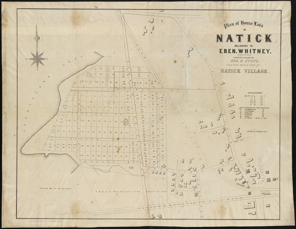 Plan of house lots in Natick belonging to Eben. Whitney
