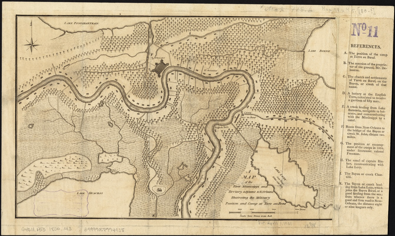A map of the River Mississippi and territory adjacent to N. Orleans illustrating the military position and camp at Terre au Boeuf
