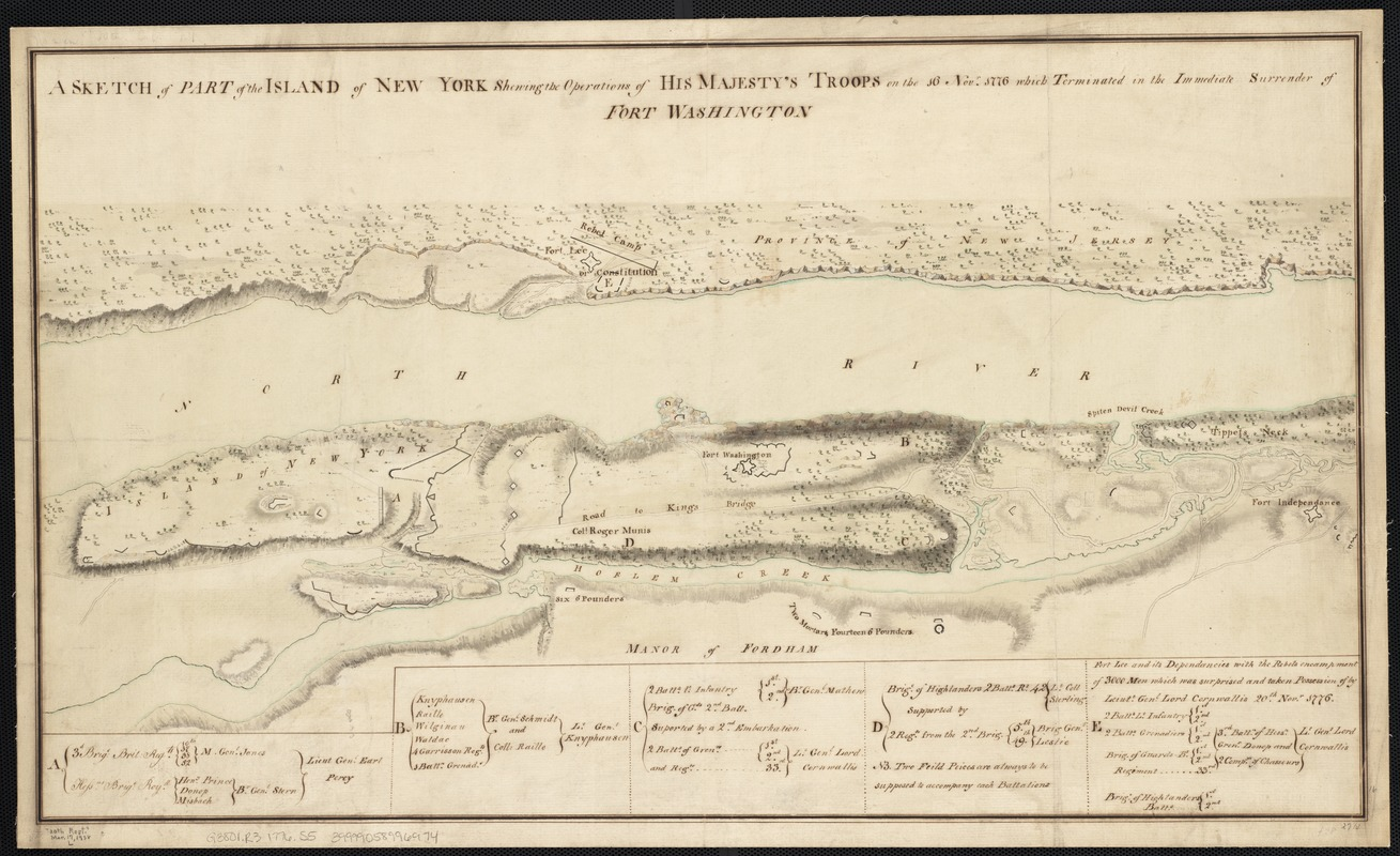 A sketch of part of the Island of New York shewing the operations of His Majesty's troops on the 16 Novr. 1776 which terminated in the immediate surrender of Fort Washington