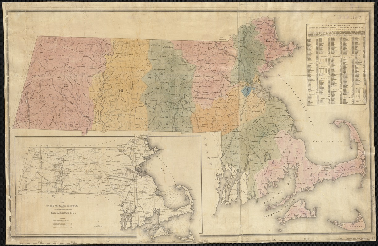 A map of Massachusetts, showing the congressioanl districts, as proposed by the Senate of 1852