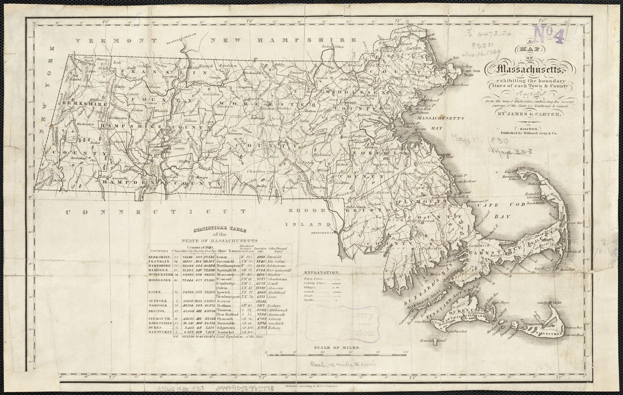 A map of Massachusetts, exhibiting the boundary lines of each town and county