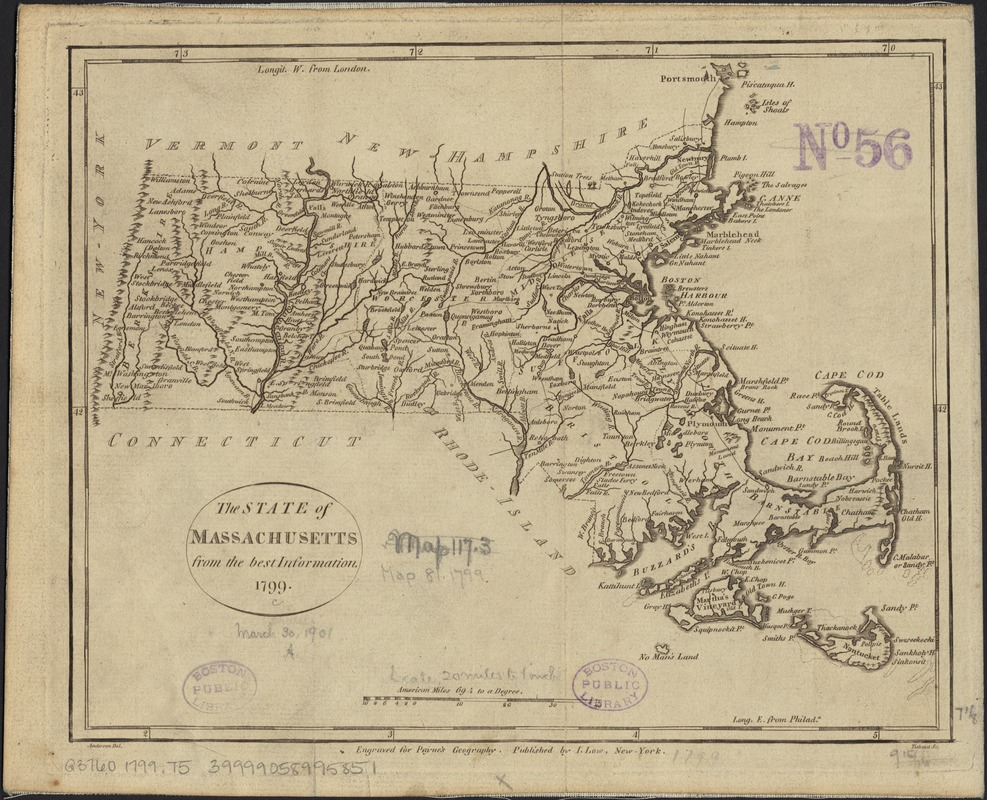 The state of Massachusetts from the best information