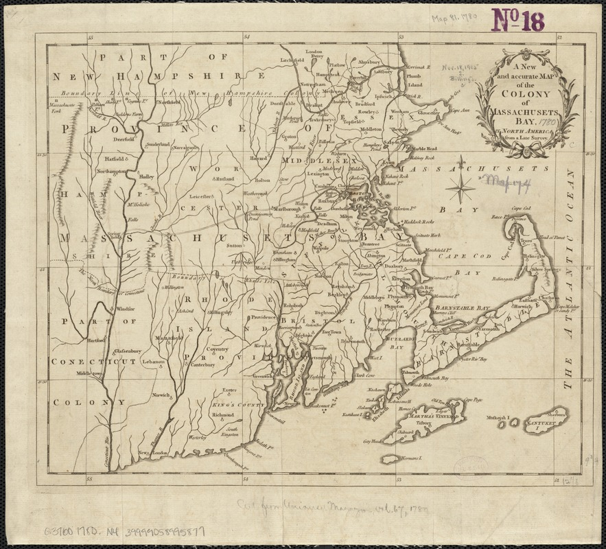 A new and accurate map of the colony of Massachusets Bay, in North America, from a late survey