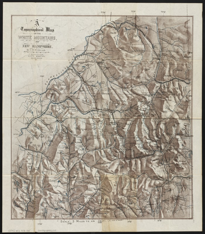 Topographic Map Of A Mountain.A Topographical Map Of The White Mountains Of New Hampshire