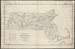 Outline map of Massachusetts showing population according to the United States census of 1890