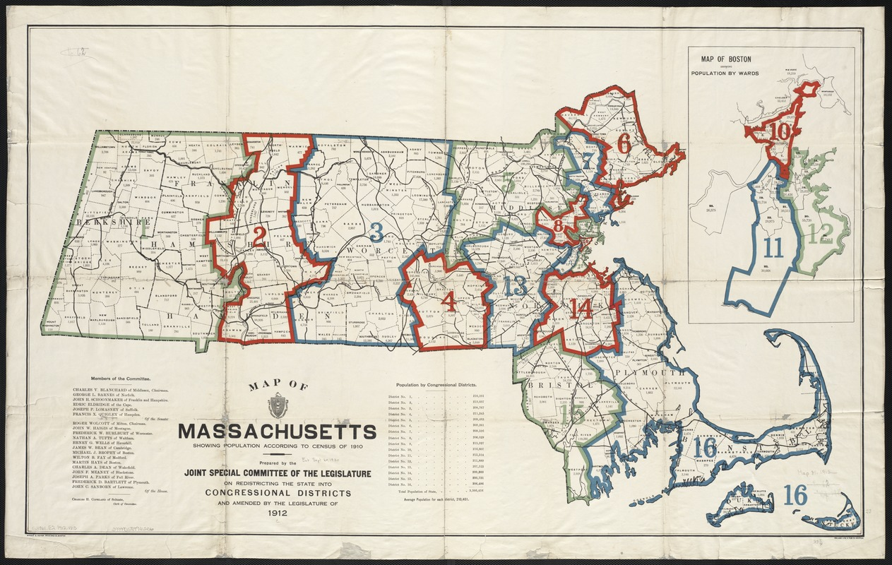 Map of Massachusetts showing population according to census of 1910
