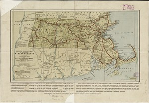 National Highways map of the state of Massachusetts showing one thousand miles of national highways proposed by the National Highways Association, Washington D.C