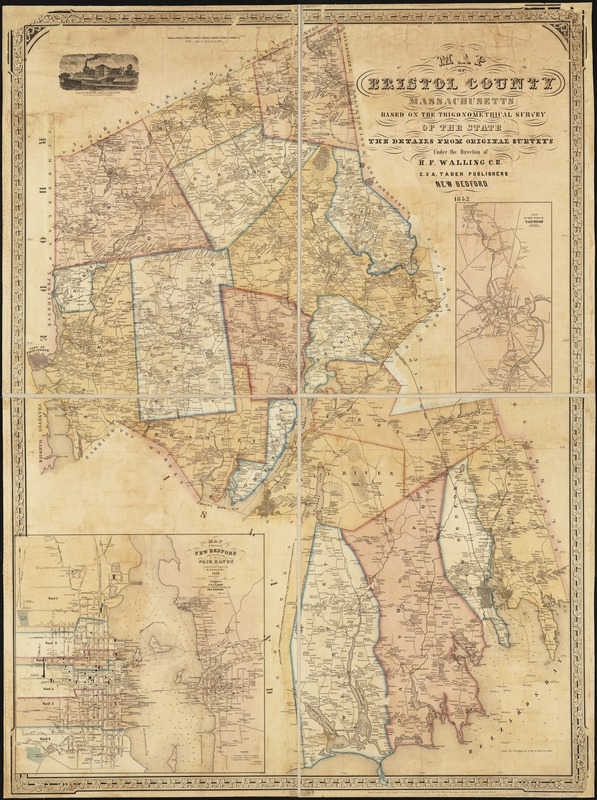 Map of Bristol County Massachusetts