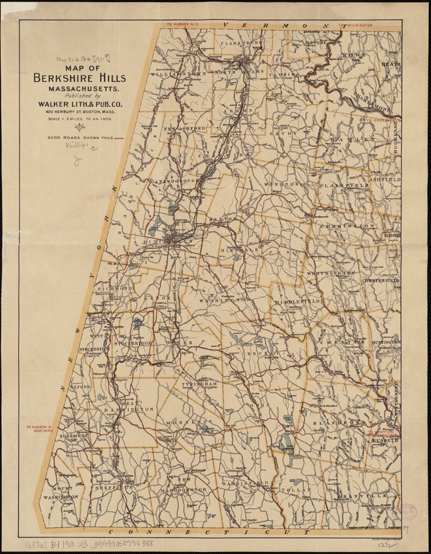 Map of the Berkshire Hills Massachusetts