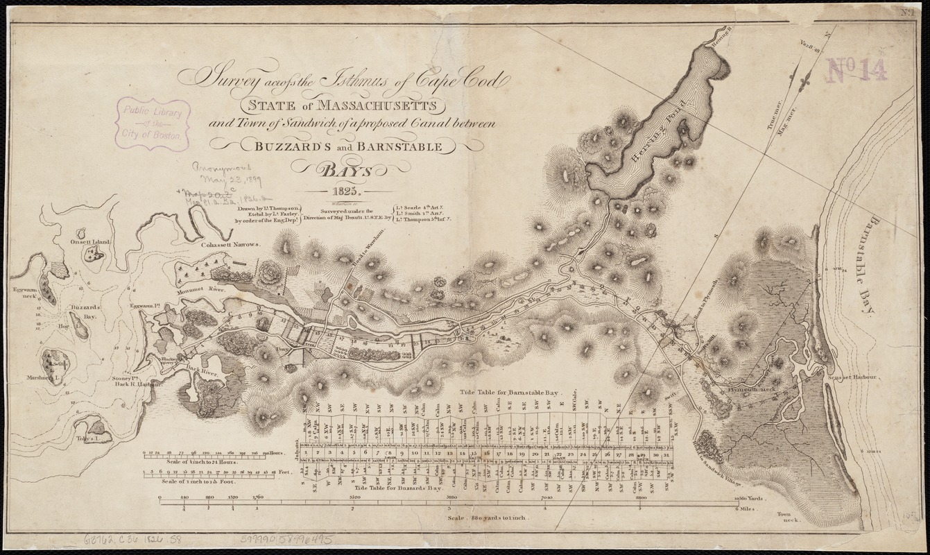 Survey across the isthmus of Cape Cod, state of Massachusetts and town of Sandwich of a proposed canal between Buzzard's and Barnstable Bays 1825