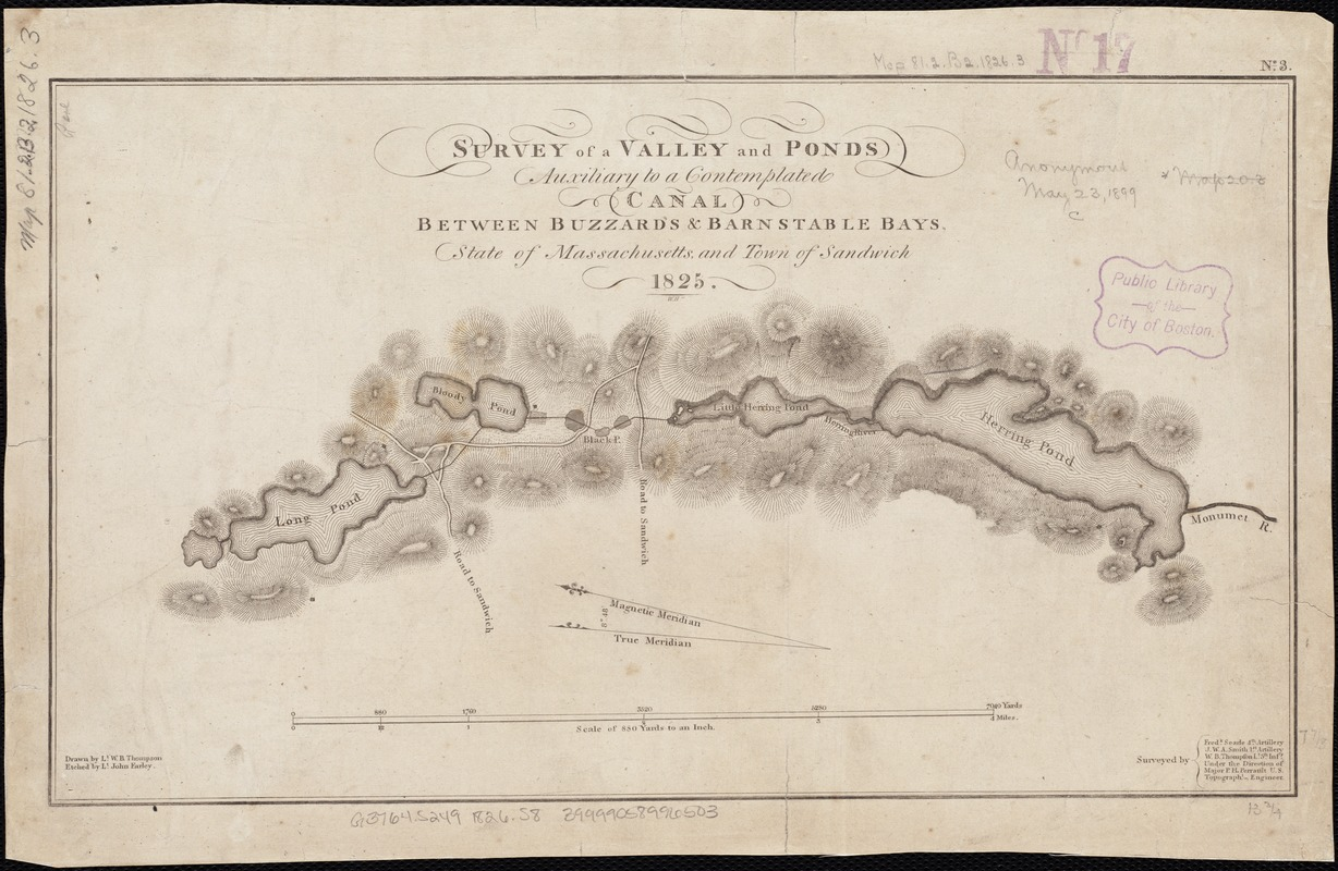 Survey of a valley and ponds auxiliary to a contemplated canal between Buzzard's & Barnstable Bays, state of Massachusetts and town of Sandwich