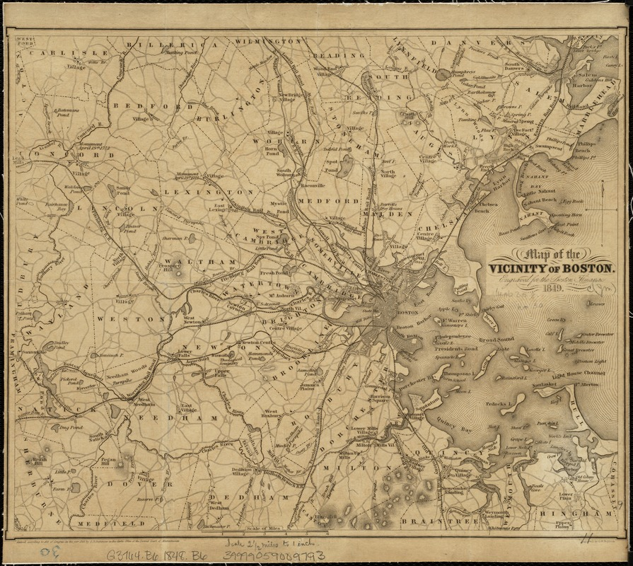 Map of the vicinity of Boston