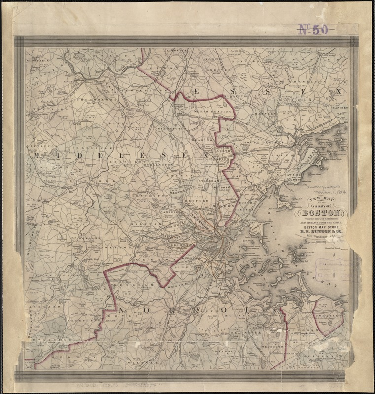 New map of the vicinity of Boston, with the dates of settlement and distance from the capital