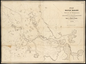 Map of the water region of the county of Middlesex exhibiting the mode of supplying Boston & Charlestown with soft water from Spot and Mystic Ponds